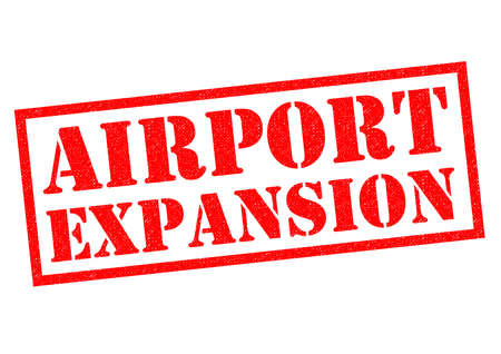 AIRPORT EXPANSION red Rubber Stamp over a white background.