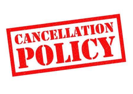 canceled: CANCELLATION POLICY red Rubber Stamp over a white background.