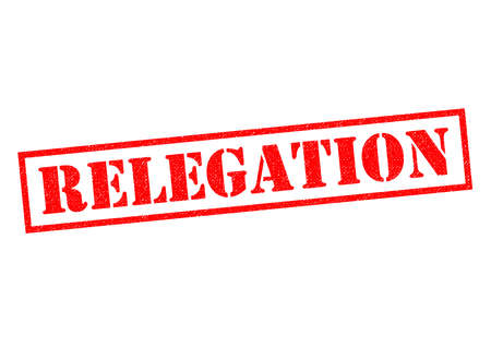 demotion: RELEGATION red Rubber Stamp over a white background.