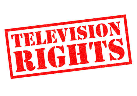 TELEVISION RIGHTS red Rubber Stamp over a white background.