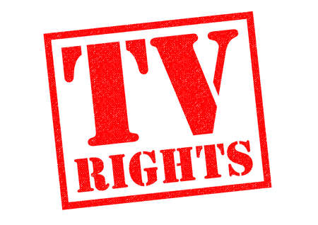 licence: TV RIGHTS red Rubber Stamp over a white background.