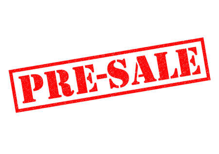 beforehand: PRE-SALE red Rubber Stamp over a white background. Stock Photo