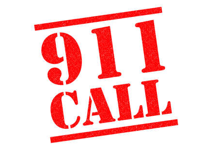 caller: 911 CALL red Rubber Stamp over a white background.