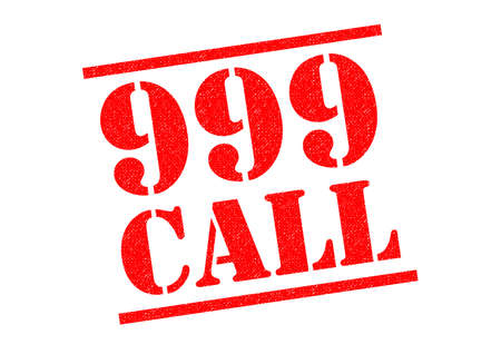 phoning: 999 CALL red Rubber Stamp over a white background.