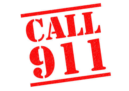 caller: CALL 911 red Rubber Stamp over a white background. Stock Photo