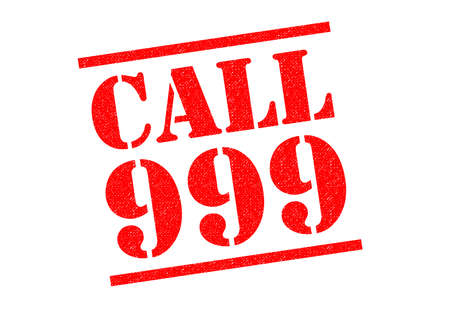 caller: CALL 999 red Rubber Stamp over a white background. Stock Photo