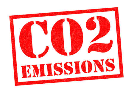CO2 EMISSIONS red Rubber Stamp over a white background.