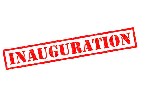 commence: INAUGURATION red Rubber Stamp over a white background. Stock Photo