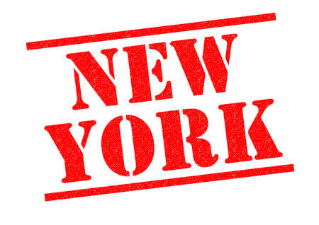 NEW YORK red Rubber Stamp over a white background. Stock Photo