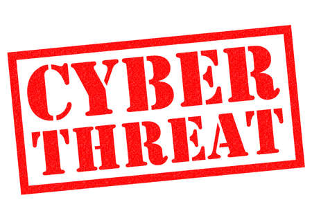 warned: CYBER THREAT red Rubber Stamp over a white background. Stock Photo