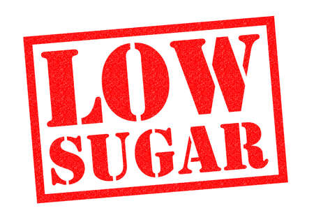 sweetened: LOW SUGAR red Rubber Stamp over a white background.
