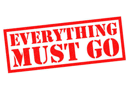 EVERYTHING MUST GO red Rubber Stamp over a white background.
