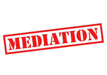 conciliation: MEDIATION red Rubber Stamp over a white background.