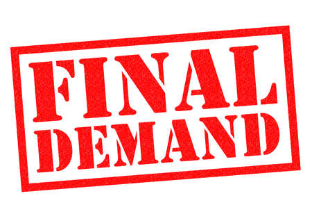 warned: FINAL DEMAND red Rubber Stamp over a white background. Stock Photo