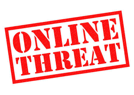 threat: ONLINE THREAT red Rubber Stamp over a white background.
