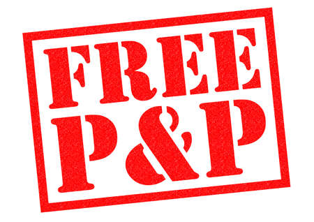 FREE P&P red Rubber Stamp over a white background. Stock Photo