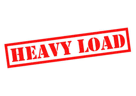 heaviness: HEAVY LOAD red Rubber Stamp over a white background. Stock Photo