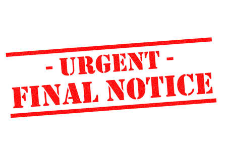 URGENT FINAL NOTICE red Rubber Stamp over a white background.