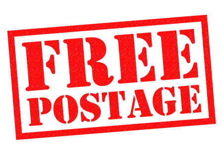 FREE POSTAGE red Rubber Stamp over a white background. Stock Photo