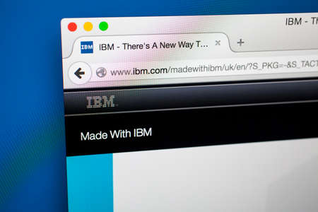 middleware: LONDON, UK - OCTOBER 21ST 2015: The homepage of the official IBM website, on 21st October 2015. Editorial