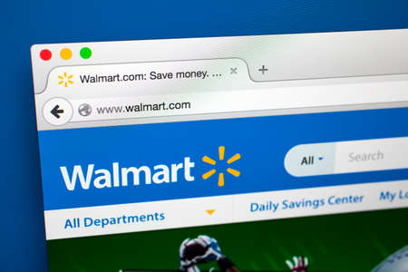 walmart: LONDON, UK - OCTOBER 21ST 2015: The homepage of the official Walmart website, on 21st October 2015.  Walmart is an American multinational retail corporation headquartered in Arkansas.