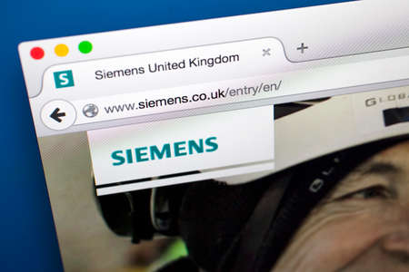 ag: LONDON, UK - OCTOBER 22ND 2015: The homepage of the official Siemens AG website, on 22nd October 2015.