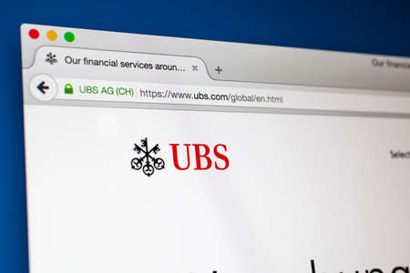 ag: LONDON, UK - OCTOBER 22ND 2015: The homepage of the official UBS AG website, on 22nd October 2015.