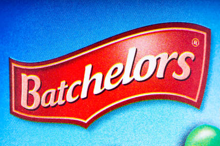 LONDON, UK - OCTOBER 13TH 2016: A close-up shot of the Batchelors logo on one of their food products, on 13th October 2016.  The Batchelors brand is owned and produced by Premier Foods plc.