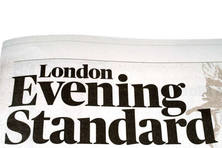 evening newspaper: LONDON, UK - OCTOBER 21ST 2016: A close-up of the title of the London Evening Standard free daily newspaper, on 21st October 2016. Editorial