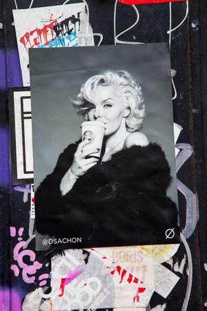 LONDON, UK - JANUARY 13TH 2016: A pasted-up piece of street art in East London, on 13th January 2016. Redakční