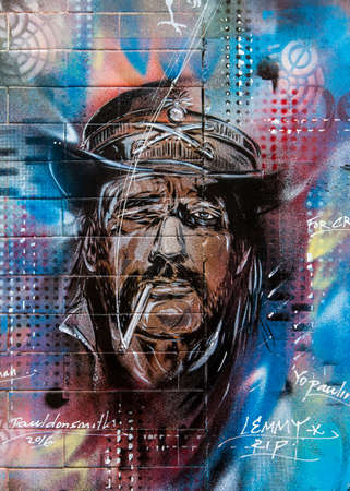 LONDON, UK - JANUARY 13TH 2016: A piece of Graffiti by artist Paul Don Smith of Lemmy from rock band Motorhead, in London on 13th January 2016.