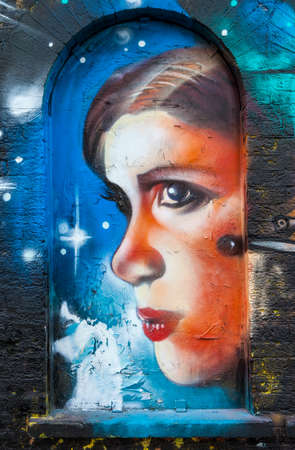 LONDON, UK - JANUARY 13TH 2016: A piece of Graffiti in East London portraying the character Princess Leia from the Star Wars franchise, on 13th January 2016.