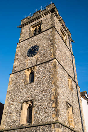 Looking up at the historic Clock Tower in the city of St. Albans, England.