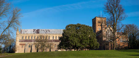 A view of the magnificent St. Albans Cathedral viewed from Verulamium Park in the historic city of St. Albans, England.