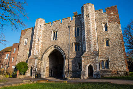 The beautiful architecture of the Abbey Gateway in St. Albans, England. Stock Photo