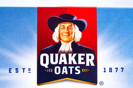 quaker: LONDON, UK - JANUARY 4TH 2017: A close-up shot of the Quaker Oats company logo, on 4th January 2017.  Quaker have been owned by the PepsiCo since 2001. Editorial