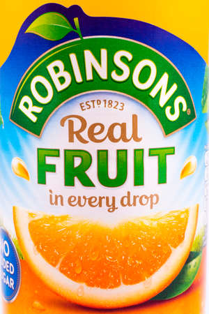 cordial: LONDON, UK - JANUARY 4TH 2017: A close-up of the label on a bottle of Robinsons Fruit Cordial Drink, on 4th January 2017.  The Robinsons brand is owned by Britvic.
