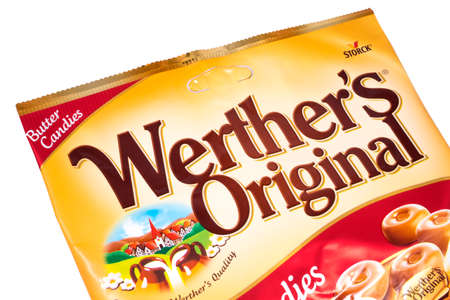 LONDON, UK - JANUARY 4TH 2017: A packet of Werthers Original Butter Candies, pictured over a plain white background, on 4th January 2017. The brand is owned by August Storck KG.