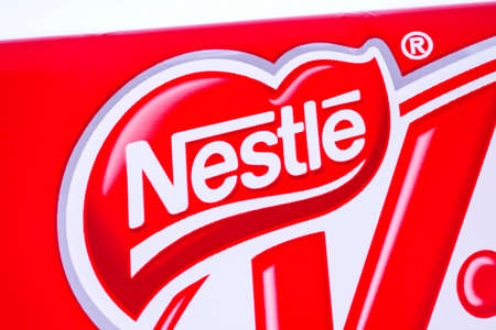 LONDON, UK - JANUARY 4TH 2017: A close-up of the Nestle logo on one of their confectionery products, pictured over a plain white background on 4th January 2017. Editorial