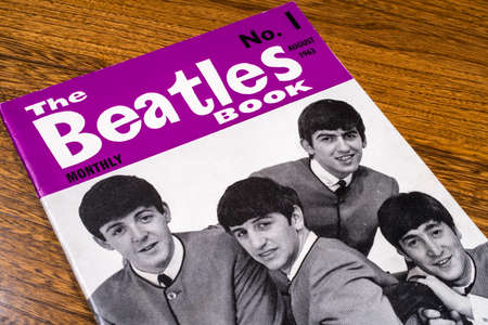 LONDON, UK - JANUARY 4TH 2017: Close-up shot of The first issue of The Beatles Monthly Book, issued in August 1963, placed on a tabletop, pictured on 4th January 2017. Editorial