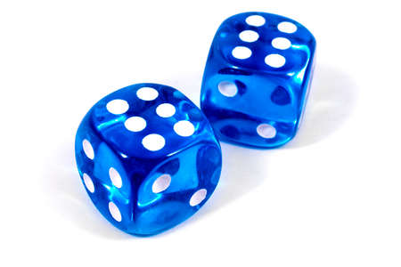 Two blue dice isolated over a plain white background.