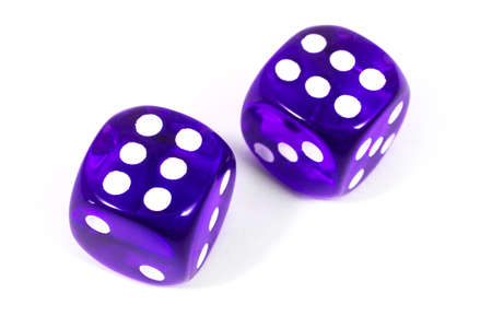 double game: Two purple dice over a plain white background.