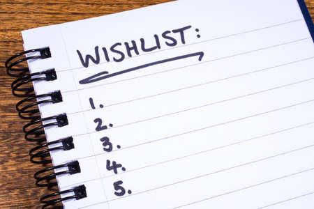wish  list: An empty Wish List in a Notebook.