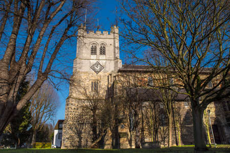 A view of the historic Waltham Abbey Church in Waltham Abbey, Essex.  King Harold II who died at the Battle of Hastings in 1066 is said to be buried in the churchyard.
