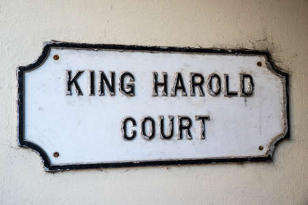 he said: A sign for King Harold court in Waltham Abbey, Essex.  King Harold has historic connections with Waltham Abbey as he is said to be buried in the towns churchyard.