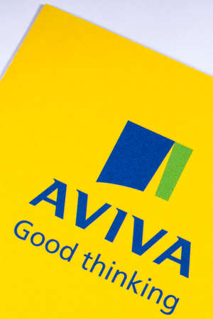 LONDON, UK - JANUARY 13TH 2017: The logo for Aviva plc on the corner of a leaflet, on 13th January 2017. Aviva are a British multinational insurance company. Editorial