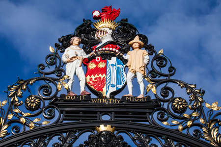 The beautiful decoration on the main gates of Castle Park in the historic town of Colchester, UK.
