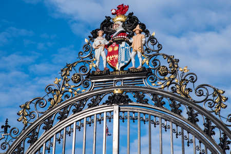 steel works: The beautiful decoration on the main gates of Castle Park in the historic town of Colchester, UK.