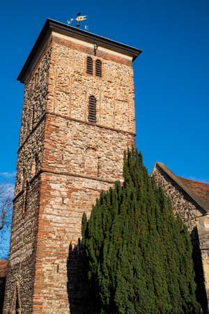 anglo saxon: A view of the magnificent Saxon tower of Holy Trinity church in the historic town of Colchester, Essex.