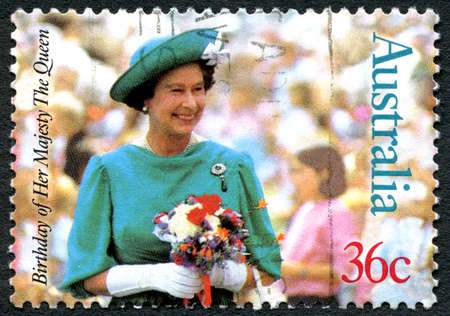 AUSTRALIA - CIRCA 1987: A used 36 cent postage stamp from Australia, depicting a portrait of Queen Elizabeth II - commemorating her 61st birthday, circa 1987.